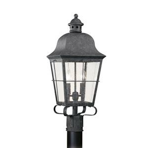 Hazel Oxidized Bronze 9-Inch Energy Star Two-Light Outdoor Post Lantern