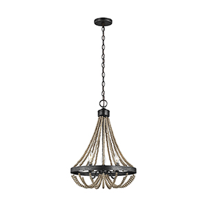 Sophia Washed Pine Three-Light Energy Star Chandelier