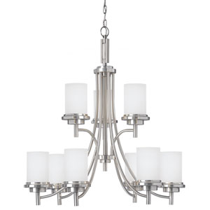 York Brushed Nickel 32-Inch Nine-Light Multi-Tier Chandelier