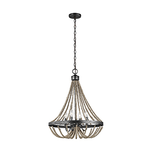 Sophia Washed Pine Four-Light Chandelier