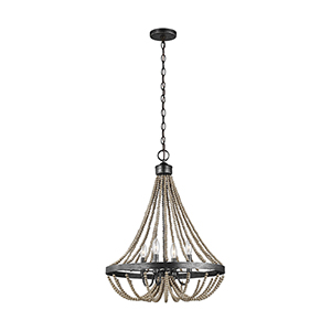 Sophia Washed Pine Four-Light Energy Star Chandelier