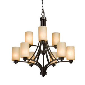 Oxford Oil Rubbed Bronze 28-Inch Nine-Light Chandelier