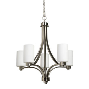 Oxford Polished Nickel Five-Light Chandelier