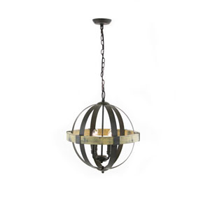 Ash Black and Aspen Wood Four-Light Chandelier