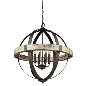 Ash Black and Aspen Wood Six-Light Chandelier