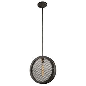 Finn Granite Black, Vintage Brass One-Light Pendant