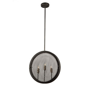 Finn Granite Black, Vintage Brass Three-Light Pendant