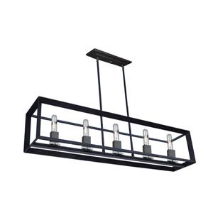 Lex Matte Black Five-Light Pendant