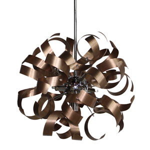 Camila Brushed Copper and Chrome Five-Light Pendant