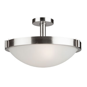 Fredrick Brushed Nickel Three-Light Semi Flush Mount