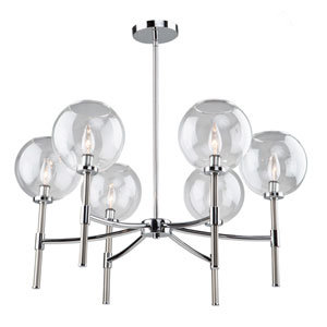 York Chrome and Brushed Nickel Six-Light Chandelier