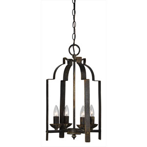 Iris Antique Black Four-Light Mini Pendant