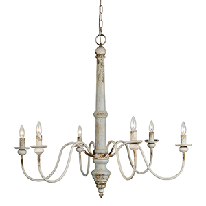 Hana Distressed Blue and Cottage White Six-Light Chandelier
