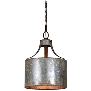 Iris Galvanized 16-Inch One-Light Pendant