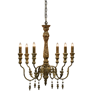Charlotte Weathered with Gold Accents 30-Inch Six-Light Chandelier