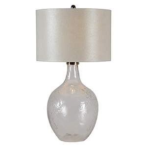 Olivia Polished Nickel and Glass 33-Inch One-Light Table Lamp
