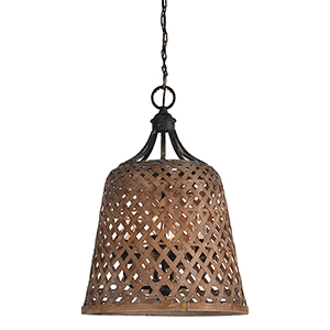 Hana Rustic Black and Natural Rattan Four-Light Pendant