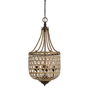 Hana Jute, Natural Rattan and Rustic Black Four-Light Pendant