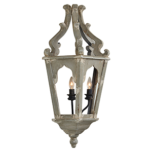 Charlotte Weathered Gray and White Two-Light Plug-In Sconce