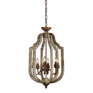 Sophia Weathered Driftwood and Gold Six-Light Chandelier