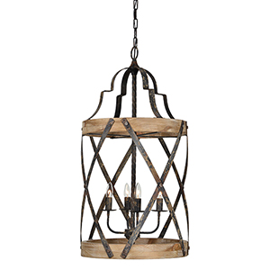 Hana Rustic Black and Driftwood Four-Light Chandelier