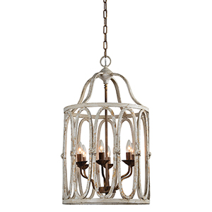 Hana Cream and Rusty Gold Six-Light Chandelier