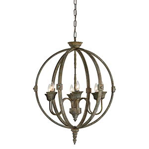 Iris Rustic Bronze Six-Light Chandelier
