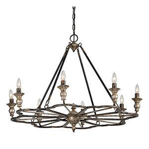 Charlotte Antique Silver and Black Eight-Light Chandelier