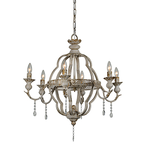 Charlotte Cottage White Six-Light Chandelier