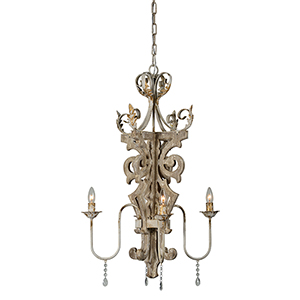 Charlotte Driftwood and Cream Four-Light Chandelier