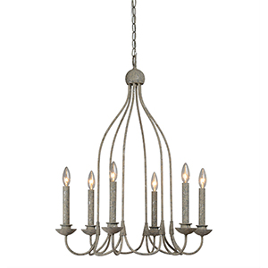 Hana Antique Silverleaf Six-Light Chandelier