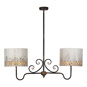 Iris Rustic Black Cottage White Two-Light Chandelier