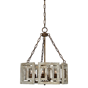 Charlotte Weathered White Six-Light Chandelier