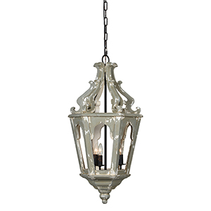 Charlotte Gray with Antique White Three-Light Chandelier