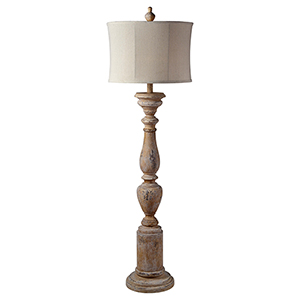 Hana Distressed Cream One-Light Floor Lamp