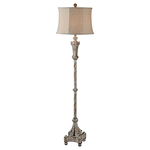 Hana Soft Gray Distressed Three-Light Floor Lamp