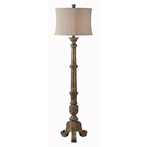 Hana Medium Brown with Gray Distressed One-Light Floor Lamp