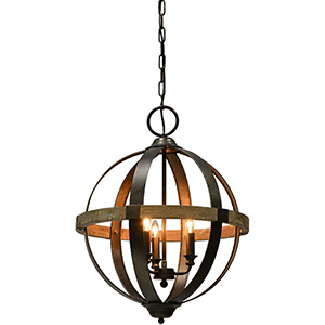 Austin Weathered Pewter and Natural Wood Tone 25-Inch Three-Light Chandelier