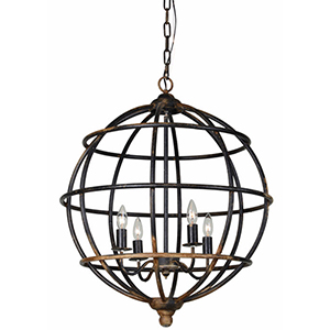 Austin Rustic Black 30-Inch Four-Light Pendant
