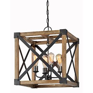 Finn Driftwood and Natural Metal Four-Light Pendant