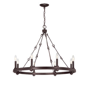 Austin English Bronze 32-Inch Eight-Light Chandelier
