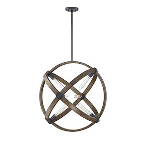 Finn Whiskey Wood 28-Inch Six-Light Pendant