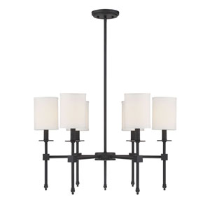 Kate Matte Black 28-Inch Six-Light Chandelier
