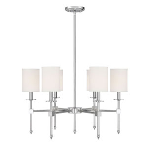 Kate Polished Nickel 28-Inch Six-Light Chandelier