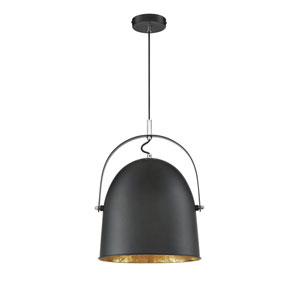 Madison Black with Gold Leaf 14-Inch One-Light Pendant