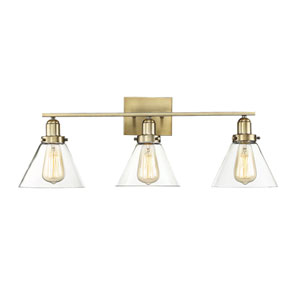 Irving Polished Brass 29-Inch Three-Light Bath Vanity