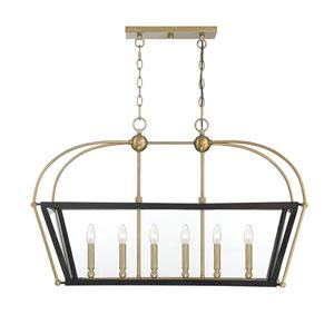 Cora English Bronze and Warm Brass 16-Inch Six-Light Pendant