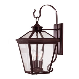 Oxford English Bronze Nine-Inch Three-Light Outdoor Wall Sconce