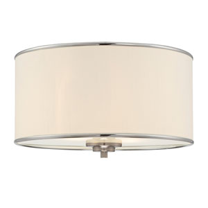 Anna Nickel and Pewter 14-Inch Two-Light Flushmount