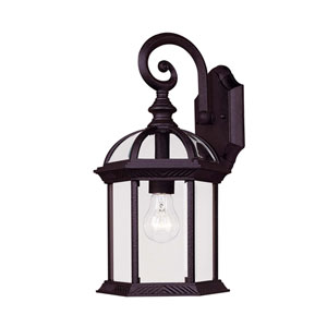 James Textured Black Eight-Inch One-Light Medium Outdoor Wall Sconce